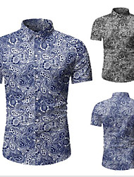 cheap -Men's Graphic Shirt Classic Vacation Tops Black Blue / Spring / Summer / Fall