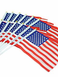 cheap -set of 12 american flag - 5x8 inch small us flags, vivid color, american stick flag, hand held american stick flags for outdoor indoor