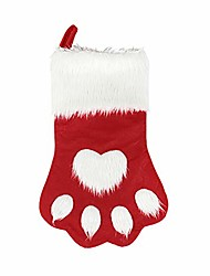cheap -dog cat paw christmas stockings, plush hanging socks for holiday and christmas decorations (large/18in, white-red)