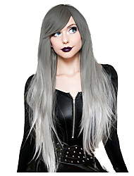 cheap -Cosplay Wig Silver Straight Asymmetrical With Bangs Wig Very Long Silver grey Synthetic Hair Women's Anime Cosplay Ombre Hair Gray