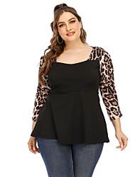 cheap -Women's Plus Size Blouse Shirt Leopard Patchwork Square Neck Tops Basic Top Black