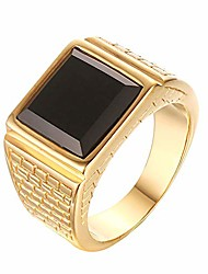 cheap -men's stainless steel black onyx gold ring europe and america style, size 13