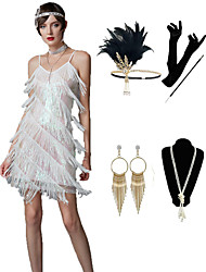 cheap -The Great Gatsby Vintage 1920s Vacation Dress Flapper Dress Outfits Masquerade Women's Tassel Fringe Costume Golden / White / Black Vintage Cosplay Party Prom / Gloves / Headwear / Necklace
