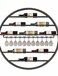 cheap -Round Wine Rack Wall Mounted Iron Upside Down Hanging Wine Glass Goblet Stemware Cup Holder Storage Wine Bottle Decoration Shelf for Kitchen Bar Gold Black White