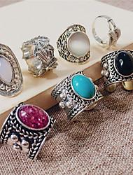 cheap -Ring Vintage Style Black Blue Purple Resin Stone Alloy Precious Joy Gemini Stylish Simple Unique Design 3pcs 8 / Women's / Open Cuff Ring / Adjustable Ring