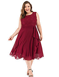 cheap -A-Line Minimalist Elegant Party Wear Cocktail Party Valentine's Day Dress Jewel Neck Sleeveless Tea Length Lace with Pleats Ruffles 2021