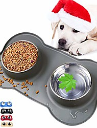 cheap -dog bowls with anti-overflow and anti-skid silicone dog food mat, stainless steel feeder easy to clean for small medium large dogs cats pets
