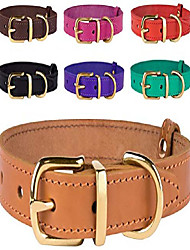 """cheap -genuine leather dog collar adjustable durable pet collars for dogs small medium large puppy black brown red pink purple green (neck size 16"""" - 21"""", light brown)"""