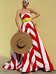 cheap -Women's A-Line Dress Maxi long Dress - Sleeveless Striped Fall Strapless Elegant Party 2020 Red S M L XL