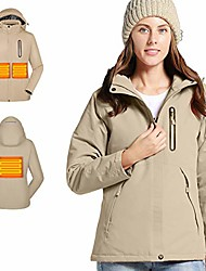cheap -women's heated jacket with attached hood, heated coat waterproof and windproof(add battery pack to cart) beige