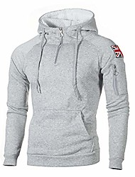 cheap -mens fashion zip-up hoodie solid color coat long sleeves loose fit athletic coat lightgray