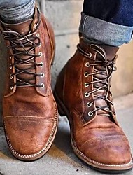 cheap -Men's Boots Combat Boots Motorcycle Boots Martin Boots Vintage Daily PU Waterproof Non Slip Non-slipping Light Brown Dark Brown Coffee Fall Winter