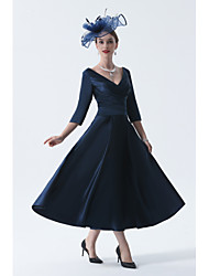 cheap -A-Line Mother of the Bride Dress Elegant Vintage Plus Size V Neck Tea Length Satin 3/4 Length Sleeve with Pleats 2020 Mother of the groom dresses