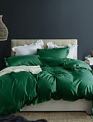 cheap -Green 3-Piece Duvet Cover Set Hotel Bedding Sets Comforter Cover with Soft Lightweight Microfiber and Lotus Leaf Edge Decoration(Include 1 Duvet Cover and 1or 2 Pillowcases)