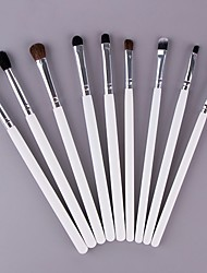 cheap -9 Pcs Animal Hair Eye Shadow Brush Set  Wool Eye Brush Set white Wooden Handle