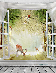 cheap -Window Landscape Wall Tapestry Art Decor Blanket Curtain Picnic Tablecloth Hanging Home Bedroom Living Room Dorm Decoration Polyester Garden Rural Animal