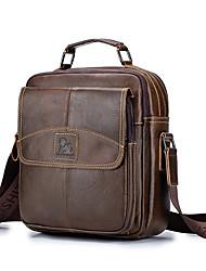 cheap -Men's Bags Cowhide Shoulder Messenger Bag Crossbody Bag Zipper Daily Office & Career Black Brown