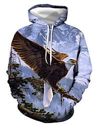 cheap -Men's Plus Size Hoodie Sweatshirt Hoodie 3D Animal Print Hooded Daily 3D Print Hoodies Sweatshirts  Long Sleeve White Blue / Spring / Winter