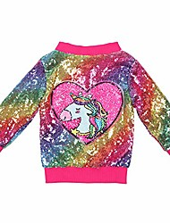 cheap -girl sequin jacket kids zipper bomber jacket coat long sleeve casual jacket toddler girls windproof christmas outwear rainbow hot pink flip heart shape unicorn 41 size 2t
