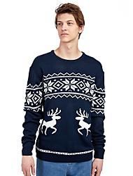 رخيصةأون -S / M / L أزرق البحرية رقبة عالية مدورة الشتاء الاكريليك وألياف, سترة الطائر جاكيت صوف عادي طبيعي كم طويل هندسي / حيوان عيد الميلاد رجالي