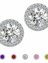 cheap -earrings round halo earrings purple fashion jewelry cubic zirconia stud earrings for women men
