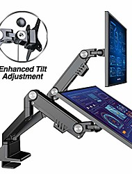 """cheap -dual 13""""-35"""" monitor arm desk mount fits two flat/curved monitor full motion height swivel tilt rotation adjustable monitor arm - vesa/c-clamp/grommet/cable management"""