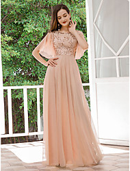 cheap -Women's A-Line Dress Maxi long Dress - Half Sleeve Solid Color Sequins Spring Fall Formal Elegant Party Slim 2020 Beige S M L XL XXL 3XL 4XL