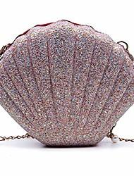 cheap -kuang women shinny seashell chain shoulder bags cute pearl mermaid shell crossbody purse unique chain handbags