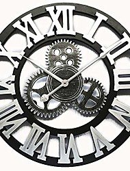 cheap -vintage decorative wall clock large 16inch with industrial gears non ticking home decor clocks,battery operated,metal effect & #40;silver& #41;