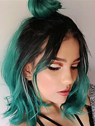 cheap -Synthetic Wig Straight Middle Part Wig Short Black / Dark Green Synthetic Hair Women's Cosplay Cool Green