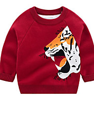 cheap -Kids Boys' Basic Tiger Animal Print Long Sleeve Sweater & Cardigan Red
