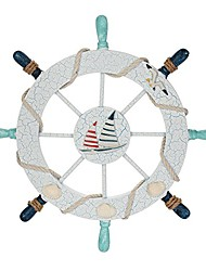 cheap -nautical beach wooden boat ship steering wheel fishing net shell home wall decor(sail)