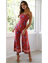 cheap -Women's Streetwear Red Wine Dusty Blue Jumpsuit Floral Print
