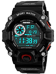 cheap -men's digital 50m waterproof electronic sport watch rubber band army military 24h time led light 164ft water resistant calendar date day watches (f red)