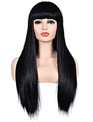 "cheap -morvally women's 26"" long straight black synthetic resistant hair wigs with bangs natural looking wig for women halloween cosplay"
