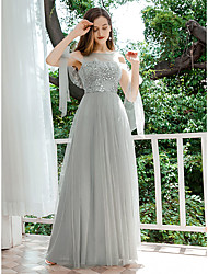 cheap -Women's A-Line Dress Maxi long Dress - Sleeveless Solid Color Sequins Spring Fall Formal Elegant Party Slim 2020 Light gray S M L XL XXL