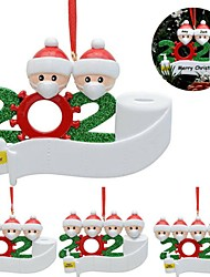 cheap -4pcs Quarantine Christmas Party Decoration Gift Santa Claus With Mask Personalized Xmas Tree Ornament All Series
