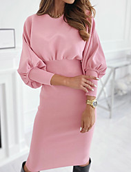 cheap -Women's Sheath Dress Knee Length Dress - Long Sleeve Solid Color Fall Hot Casual 2020 Black Blushing Pink S M L XL