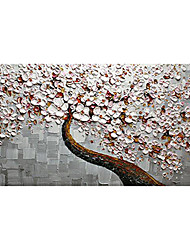 cheap -Oil Painting Hand Painted - Floral / Botanical Modern Rolled Canvas (No Frame)