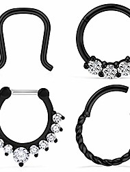 cheap -4pcs 16g stainless steel hinged clicker segment septum nose lip ring hoop cartilage tragus sleeper earrings body piercing jewelry braided 10mm black