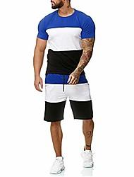 cheap -men's 2 piece outfit sport set spring summer casual short sleeve tops + short pants tracksuit