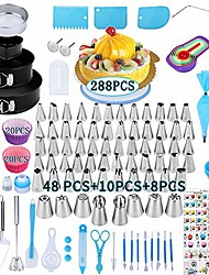 cheap -cake decorating supplies kit,288 pcs baking supplies set with icing piping tips & russian nozzles with pattern chart, rotating turntable stand, frosting, piping bags - best mother's day gifts