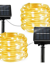 cheap -2pcs 1pcs Rope Tube LED Solar Lamp 12m 100 leds String Lights Outdoor Fairy Holiday Christmas Party Solar Garden Light Waterproof luz solar