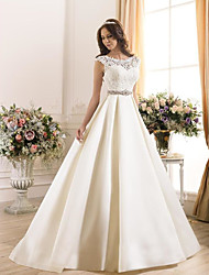 cheap -A-Line Wedding Dresses Bateau Neck Court Train Lace Chiffon Over Satin Regular Straps Vintage Backless with Lace 2020