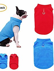 cheap -2 pack dog fleece vest, cozy soft winter coat,warm dog apparel,cold weather small dog pullover fleece jacket sweater with leash ring l