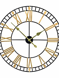 cheap -32 inch pure metal large wall clock decorative display non-ticking battery operated decor clocks,black gold