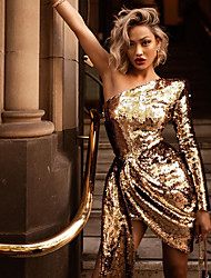 cheap -Women's Sheath Dress Short Mini Dress Gold Long Sleeve Solid Color Sequins Fall One Shoulder Hot Sexy Party Slim 2021 S M L XL