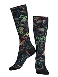 cheap -Socks Cycling Socks Men's Women's Bike / Cycling Breathable Soft Comfortable 1 Pair Skull Cotton Black M L XL / Stretchy