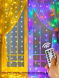 cheap -LED Curtain String Lights Flash Fairy Garland 3x1 3x2 3x3M USB Remote Control for New Year Christmas Outdoor Wedding Home Window Docoration