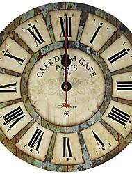 cheap -12-inch wooden clock, vintage wood wall clock - [cafe de la gare] retro style france paris london country non-ticking silent wooden wall clock (#03) 30cm*30cm